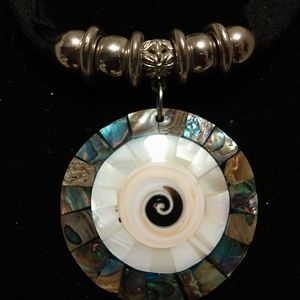 round pendant made of Mother-of-pearl and Abalone